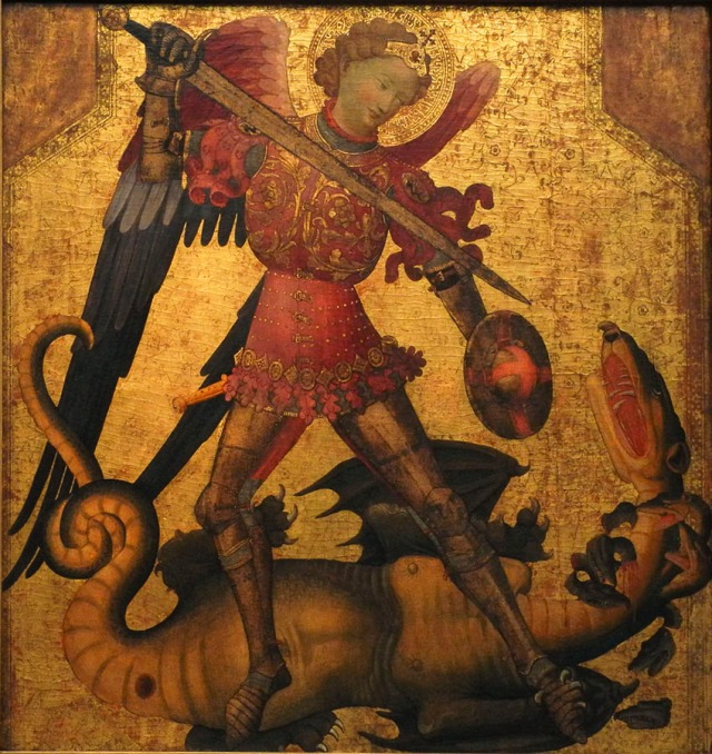 9 valencian painter, st michael and dragon, ca 1405
